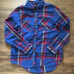Blue and Red Plaid BDG Flannel Shirt
